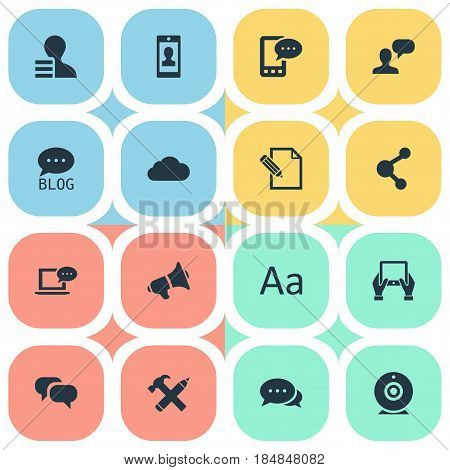 Vector Illustration Set Of Simple Blogging Icons. Elements Gossip, Site, Overcast And Other Synonyms Overcast, Blog And Smartphone.
