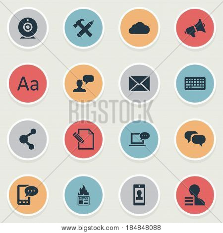 Vector Illustration Set Of Simple Blogging Icons. Elements Gossip, Share, Man Considering And Other Synonyms Post, Broadcast And Message.