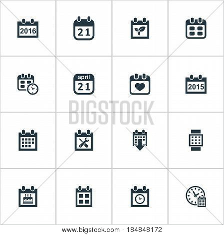 Vector Illustration Set Of Simple Plan Icons. Elements Special Day, Planner, Agenda And Other Synonyms Special, Plant And Spring.