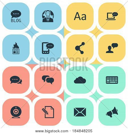 Vector Illustration Set Of Simple Blogging Icons. Elements International Businessman, Argument, Share And Other Synonyms Keypad, Gazette And Camera.
