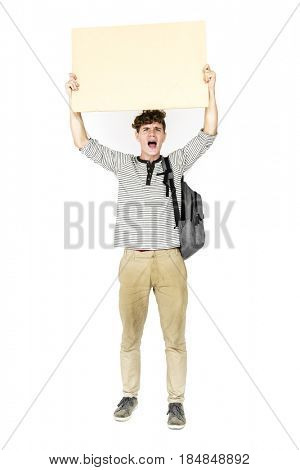 Young Man Hands Hold Showing Blank Paper Board Copy Space