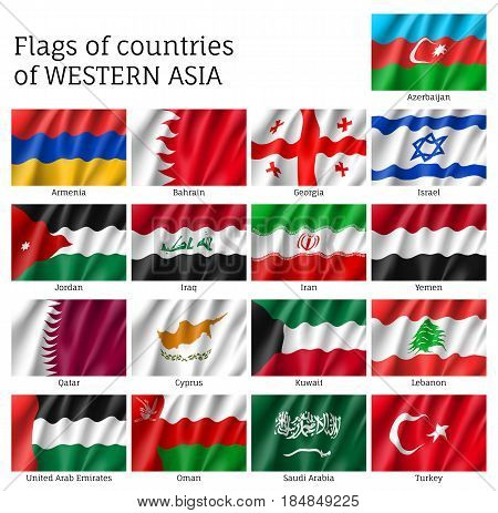 Set of waving flags of Asian countries - Qatar, Lebanon, Kuwait and Saudi Arabia, Arab Emirates, Cyprus, Lebanese, Oman. 17 ensigns on flagpole of Western Asia states. Vector isolated icons