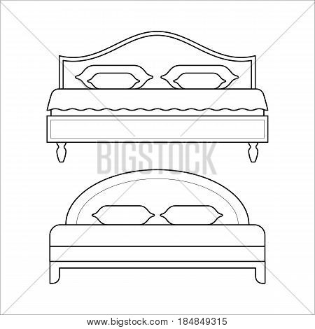 Double beds with mattress and pillow in thin line style. Vector linear flat element of house furniture for bedroom. Black outline linear illustration isolated on white background.
