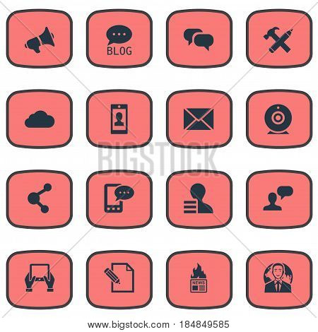 Vector Illustration Set Of Simple Blogging Icons. Elements Profile, Gazette, Loudspeaker And Other Synonyms Share, Profit And Loudspeaker.
