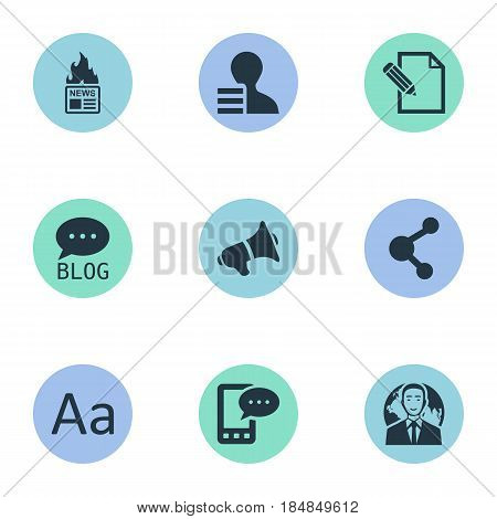 Vector Illustration Set Of Simple Newspaper Icons. Elements E-Letter, International Businessman, Gazette And Other Synonyms Relation, Cedilla And Phone.