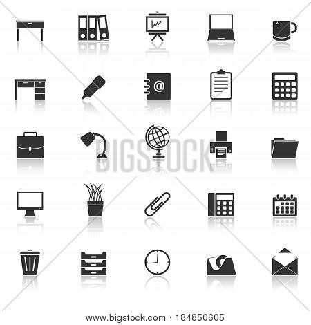 Workspace icons with reflect on white background, stock vector