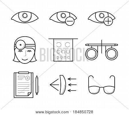 Vision diagnostic and correction icons in thin line style. Ophthalmology: ophthalmologist, glasses and prescription, diagnostic, contact lens case and trial frame. Vector outline isolated on white