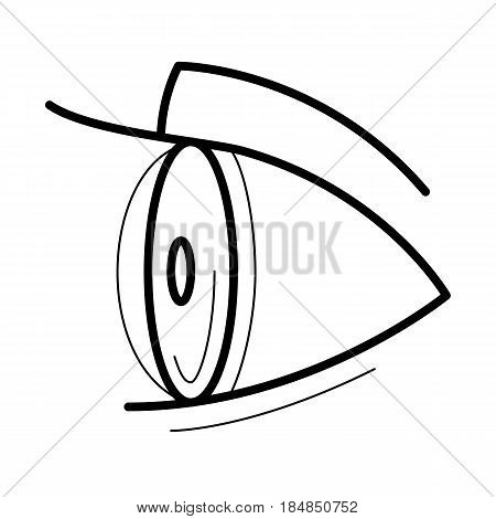 Eye with contact lens icon, side view line art pictogram, image for ophthalmology patient education materials, eye doctor poster, optical salon picture, health concept. Flat style vector illustration