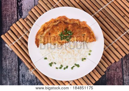 Thai Recipe,minced Pork Omelet With Jasmine Rice