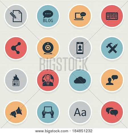 Vector Illustration Set Of Simple Newspaper Icons. Elements Gazette, Repair, Man Considering And Other Synonyms Share, Alphabet And Man.