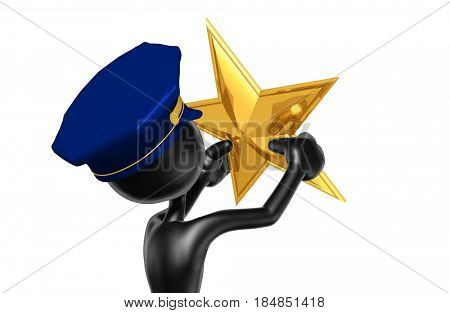 Police Officer With A Star The Original 3D Character Illustration
