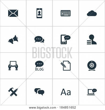 Vector Illustration Set Of Simple Blogging Icons. Elements Overcast, Broadcast, Gain And Other Synonyms Forum, Man And Overcast.