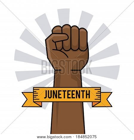 juneteenth day hand fist raise ribbon image vector illustration