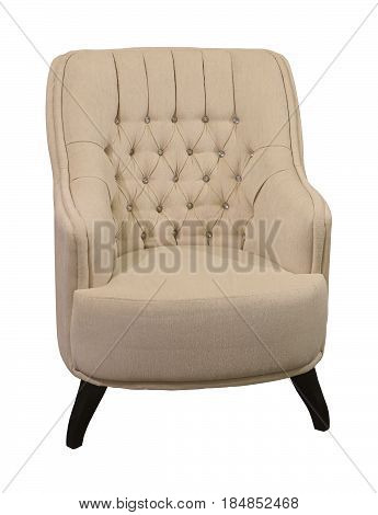 Retro armchair with textile upholstery isolated with clipping path included