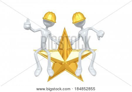 Construction Workers Sitting On A Star The Original 3D Characters Illustration