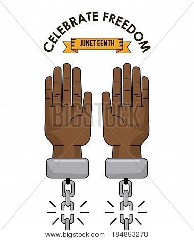 juneteenth day celebrate freedom slave image vector illustration
