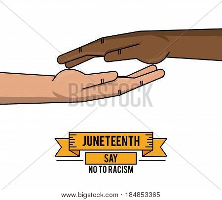 juneteenth day together hand fight freddom vector illustration