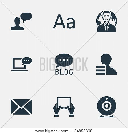 Vector Illustration Set Of Simple User Icons. Elements Site, Broadcast, International Businessman And Other Synonyms Earnings, Tablet And Missive.