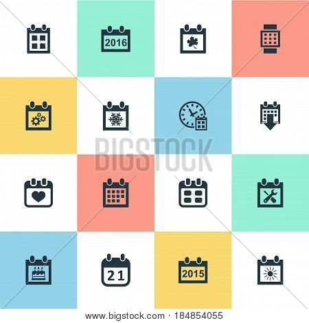 Vector Illustration Set Of Simple Calendar Icons. Elements Event, Annual, Almanac And Other Synonyms Smart, History And Wheel.