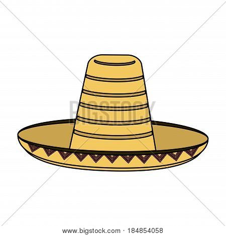 colorful silhouette mexican hat accesory costume vector illustration