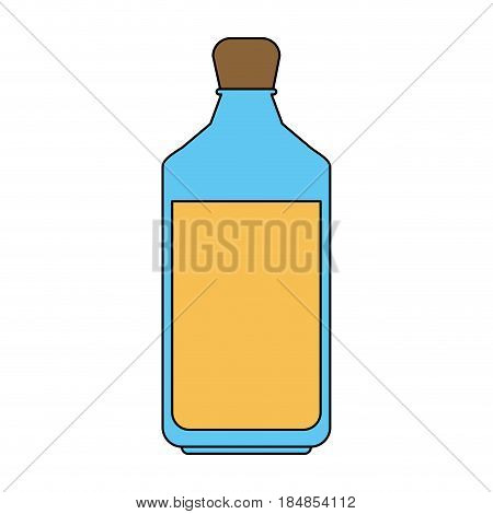 colorful silhouette glass bottle with olive oil vector illustration