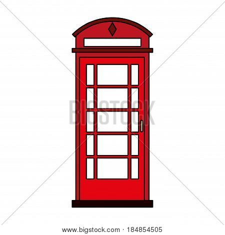 colorful silhouette red London phone booth vector illustration