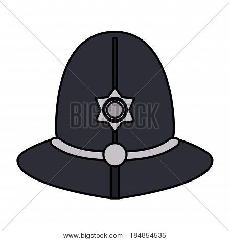 colorful silhouette traditional helmet of metropolitan British police officers vector illustration