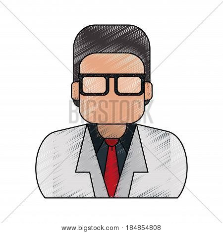 color pencil half body executive faceless man with glasses vector illustration