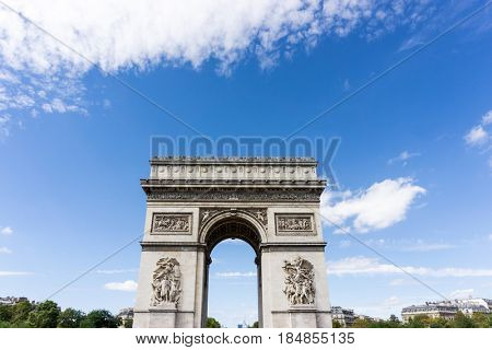 Arc de triomphe in Paris, one of the most famous monuments. August 28, 2016, Paris, France