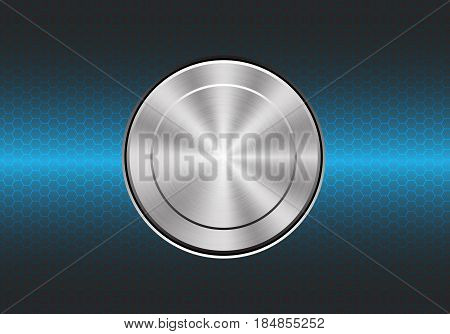 Technology metal button switch control power on blue hexagon mesh design modern background vector illustration.