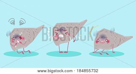 cute cartoon liver with cirrhosis on green background