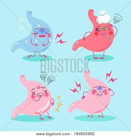 cute cartoon stomach with health concept on blue background