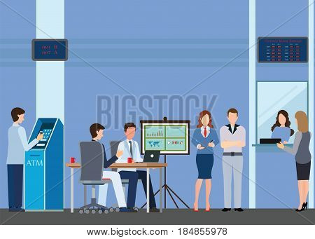 Public access to financial services to banks bank interior counter desk cashier consulting presenting queuing for ATM currency exchangeBanking concept vector illustration.
