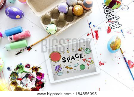 Illustration of solar system outerspace astronomy studying
