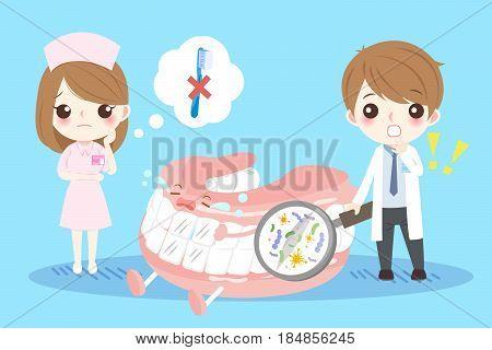 cute cartoon dentist dont use toothbrush brush denture on blue background
