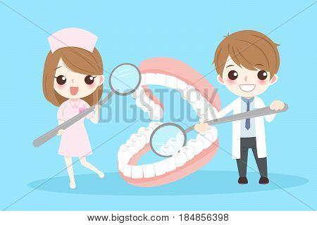 cute cartoon dentist with denture on blue background