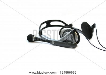 Black Wired Headphones isolated on white background