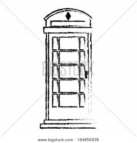 blurred silhouette London phone booth vector illustration