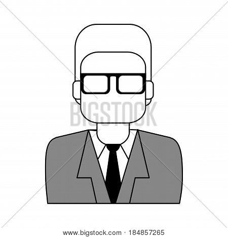 sketch color silhouette half body executive man with glasses vector illustration