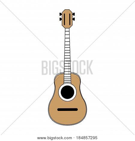 sketch color silhouette acoustic guitar musical vector illustration
