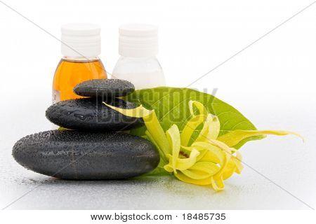 Closeup of black spa stones and Ylang-Ylang flower.