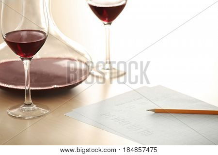 Estimating red wine in wineglass at tasting