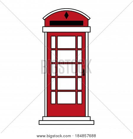 sketch color silhouette London red phone booth vector illustration