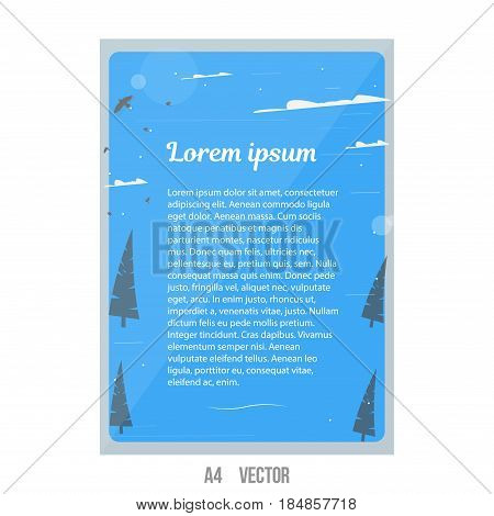 Vector natural brochure. Aspect Ratio for A4 size. Eco poster of green, grey and white color. Magazine cover.