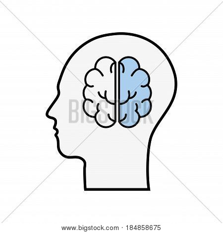 line silhouette head with brain inside, vector illustration