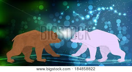 Bear Brown And White Northern Meeting Illustration