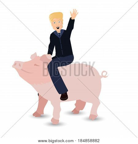 Donald Trump Riding A Pig A Wild Pink On