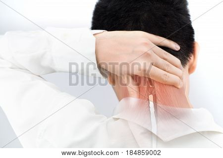 neck muscle injury white background neck pain