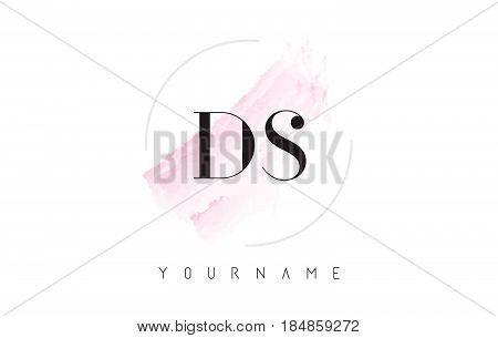 Ds D S Watercolor Letter Logo Design With Circular Brush Pattern.
