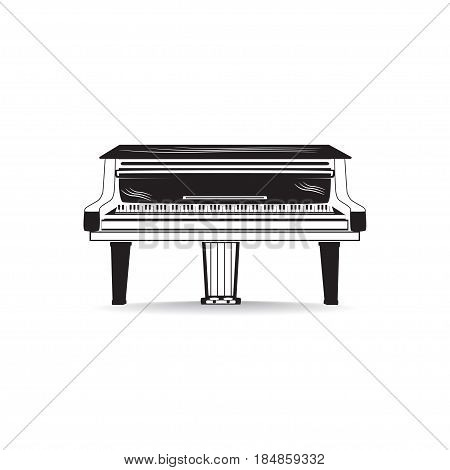 Vector illustration of grand piano isolated on white background. Black and white musical instrument flat style design.